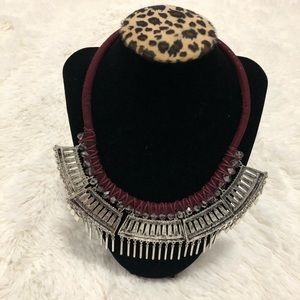 Forever 21- Burgundy and silver statement necklace